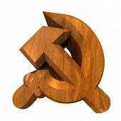 picture of hammer sickle  - 3d made hammer and sickle symbol in wood  - JPG