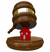 A red illustrated 3D house on a wood block about to be smashed by a gavel, symbolizing the auctionin