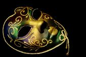 stock photo of mardi gras mask  - Golden Venetian mask - JPG