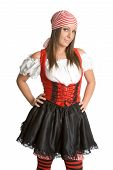stock photo of wench  - Cute young white lady in pirate costume - JPG