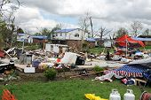 SAINT LOUIS, MO - APRIL 22:Destruction left behind by tornadoes that ravaged the area. April 22, 201