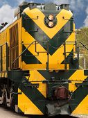stock photo of chug  - brightly colored train engine - JPG