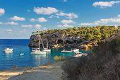 Beautiful seascape bay with yachts and boats.Mallorca island, Spain Mediterranean Sea, Balearic Isla poster