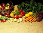 Fruit & Vegetables on Burlap background