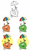 stock photo of chloroplast  - Smiling With Colorful Umbrellas Leaves Cartoon Characters - JPG