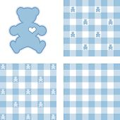 Teddy Bear & Gingham Seamless Patterns, Pastel Blue