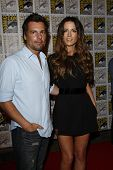 SAN DIEGO - JULY 22: Kate Beckinsale; Len Wiseman arriving at a press event for 'Total Recall' durin