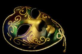 pic of mardi gras mask  - Golden Venetian mask - JPG