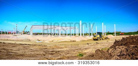 poster of Panorama Showing The Grader Is Leveling A Landscape, Transform Into Urban Area. View On Construction