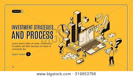 poster of Investment Strategies And Process Isometric Web Banner. Businessman Stand At Huge Laptop With Busine