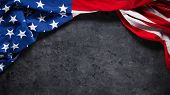 US American flag on worn black background. For USA Memorial day, Veterans day, Labor day, or 4th of poster