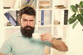 Head Of Department. Head Office Concept. Man Bearded Manager Businessman Entrepreneur Wear Golden Cr poster