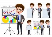 Businessman Presentation Vector Character Set. Business Man Characters In Presentation Standing And  poster