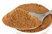 Closeup photo : a tablespoon of chocolate (cocoa), sugar, whey, malt extract and milk flavoring powder