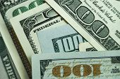 Close Up Beautiful Dollars Background. American, Us Dollars Cash Money. One Hundred Dollar Banknotes poster