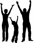 Family Of Three With Hands Up Vector