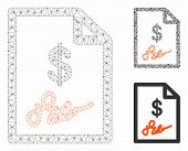 Mesh Signed Invoice Model With Triangle Mosaic Icon. Wire Frame Polygonal Mesh Of Signed Invoice. Ve poster