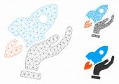 Mesh Startup Model With Triangle Mosaic Icon. Wire Carcass Polygonal Network Of Startup. Vector Mosa poster