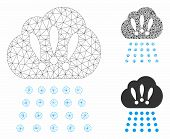 Mesh Storm Cloud Model With Triangle Mosaic Icon. Wire Carcass Polygonal Mesh Of Storm Cloud. Vector poster