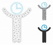 Mesh Time Manager Model With Triangle Mosaic Icon. Wire Carcass Polygonal Mesh Of Time Manager. Vect poster