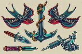 Vintage Colorful Flash Tattoos Collection With Swallows Sharp Knives Tattoo Machine Ship Anchor Isol poster