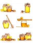a collage of six compositions of jars of honey isolated on white