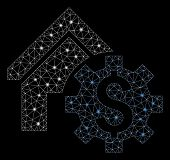 Glowing Mesh House Rent Options With Glitter Effect. Abstract Illuminated Model Of House Rent Option poster