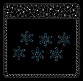 Glossy Mesh Snowflakes Calendar Page With Glare Effect. Abstract Illuminated Model Of Snowflakes Cal poster