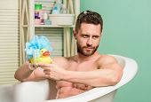 Funny Duckling. Playful Mood. Macho Enjoy Bath. Sexy Man In Bathroom. Sex And Relaxation Concept. Ma poster