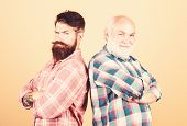 Brutal Guys With Long Beard. Barber Well Groomed Handsome Bearded Man. Father And Son. Hairdresser S poster