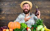 Homegrown Organic Food. Man With Beard Wooden Background. Farmer With Organic Vegetables. Gardening  poster