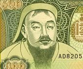 MONGOLIA - CIRCA 1997: Genghis Khan (1162-1227) on 500 Tugrik 1997 Banknote from Mongolia. Founder,