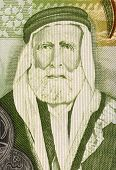 JORDAN - CIRCA 2011: Hussein bin Ali (1854-1931) on 1 Dinar 2011 Banknote from Jordan. Sharif of Mecca, and Emir of Mecca during 1908-1917, when he proclaimed himself King of the Hejaz.