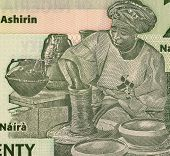 NIGERIA - CIRCA 2009: Potter on 20 Naira 2009 Banknote from Nigeria.