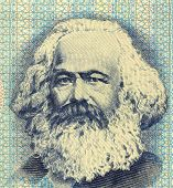 GERMANY - CIRCA 1975: Karl Marx (1818-1883) on 100 Mark 1975 Banknote from East Germany. German philosopher, political economist & theorist, historian, sociologist, and communist revolutionary.