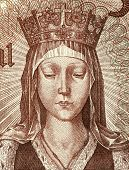 PORTUGAL - CIRCA 1964: Elizabeth of Aragon (1271-1336) on 50 Escudos 1964 Banknote from Portugal. Qu