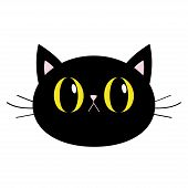 Black Cat Round Head Face Icon. Big Yellow Eyes. Pink Nose, Ears. Cute Funny Cartoon Character. Sad  poster