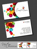 Abstract colorful bright color professional and designer business cards template or visiting card se