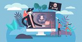 Online Piracy Vector Illustration. Flat Tiny Illegal Hackers Persons Concept. Internet Thief, Crime  poster