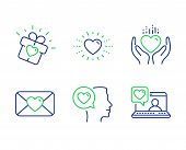 Romantic Talk, Love Gift And Valentine Line Icons Set. Hold Heart, Heart And Friends Chat Signs. Lov poster
