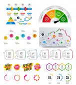 Infographic Elements. Financial Graph, Timelines, Options Banner Badges. Sale Discount Shapes, Count poster