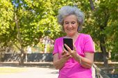 Joyful Happy Old Lady Using Cellphone For Video Call In Park. Senior Grey Haired Woman In Casual Sta poster