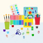 Colorful Stationery Set Vector Illustration. Coloring Pencils, Pens, Scissors And Paints With Brushe poster