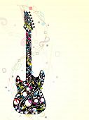 Colorful guitar decorated with floral and musical notes on abstract, wave background, EPS 10. can be use as flyer, banner or posters for musical events.