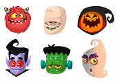 Halloween Characters Icon Set. Cartoon Head Avatars Of Pumpkin Jack O Lntern, Zombie, Vampire, Red M poster