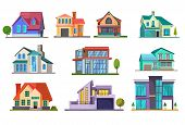 Apartment House Set. Building, Cottage, Villa. Architecture Concept. Vector Illustrations Can Be Use poster