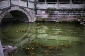 Old Stone Bridge Reflections Wuhou Three Kingdoms Temple Chengdu Sichuan China