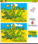 Cartoon Illustration Of Finding Six Differences Between Pictures Educational Game For Children With  poster