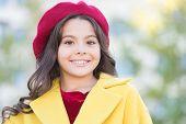 Little Parisian. Fancy Girl. Kid Little Cute Girl Smiling Face Posing Hat Defocused Background. Fash poster