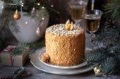 Homemade Honey Cake. Winter Composition. New Year Photo. Christmas Decoration. Christmas Decorations poster